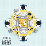 Business teamwork meeting. Top view of business teamwork meeting in line style Royalty Free Stock Images