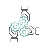 Business teamwork outline icon vector. Business teamwork teambuilding thin line icon. Work command management thin lines and human resources sign concept vector Royalty Free Stock Image