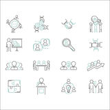 Business teamwork outline icons vector. Business teamwork teambuilding thin line icons. Work command management thin lines and human resources sign concept Stock Images