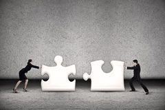Business teamwork put puzzle together Royalty Free Stock Photos
