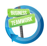 Business teamwork road sign cycle. Illustration design over white Royalty Free Stock Photos