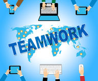 Business Teamwork Shows Web Site And Combined Royalty Free Stock Photography