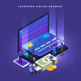Isometric Online Payment. Business teamwork of small peoples working concept online payment via credit card. Vector isometricillustrations royalty free illustration