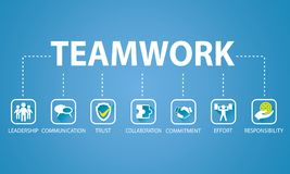 Business Teamwork Team Hard Work Concept. Vector Illustration Royalty Free Stock Photo
