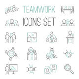 Business teamwork teambuilding outline icons. Business, team work, command management and human resources Royalty Free Stock Images