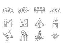 Business teamwork teambuilding thin line icons work command management outline human resources concept vector royalty free illustration