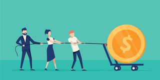Business teamwork together pulling rope for getting profit. Cooperation work with leader. Coworking concept royalty free illustration