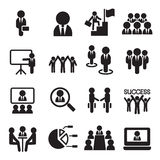 Business Teamwork, Training, Seminar, meeting, Conference, Succe. Ss icons set Vector illustration Graphic Design Stock Photos