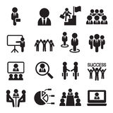 Business Teamwork, Training, Seminar, meeting icons Stock Photos
