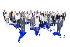 Business Teamwork with World Map Royalty Free Stock Photography