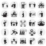 Business and teamworking set on circles background. Icons royalty free illustration