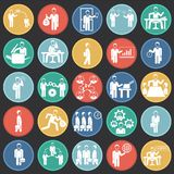 Business and teamworking set on color circles black background. Icons stock illustration