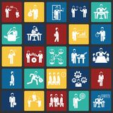 Business and teamworking set on color squares background. Icon royalty free illustration