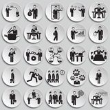 Business and teamworking set on plates background. Icons stock illustration