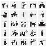 Business and teamworking set on squares background. Icons vector illustration