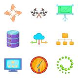 Business technologies icons set, cartoon style Stock Image