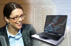 Business and Technology. Business woman and Computer stock photography