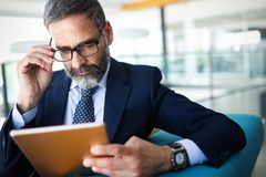 Free Business, Technology And People Concept - Senior Businessman With Tablet Pc Working In Office Stock Photos - 141060933