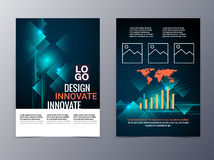 Business and technology brochure design template vector tri-fold Stock Photo