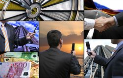 Business technology collage. Business cellphone connection, new collage royalty free stock photo