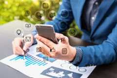 business technology concept,Business people hands use smart phone stock photography