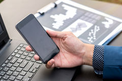 business technology concept,Business people hands use smart phone connection stock photo