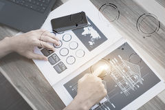 Business technology concept,Business people hands use smart phone and laptop. For business analyst project on table with blank icon symbol,selective focus stock photo