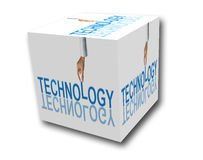 Business technology concept in cube Royalty Free Stock Image