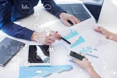 Business and technology concept. Graphs and icons on virtual screen Royalty Free Stock Photography