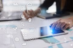 Business and technology concept. Graphs and icons on virtual screen Stock Photo