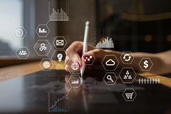 Business and technology concept. Graphs and icons on virtual screen background Stock Photography