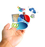 Business technology concept. Hand holding a set of icons Stock Image