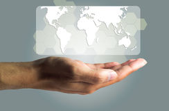 Business and Technology concept, a male hand produce the virtual Royalty Free Stock Image