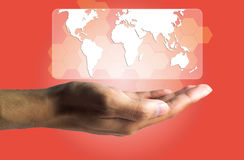 Business and Technology concept, a male hand produce the virtual Royalty Free Stock Photography