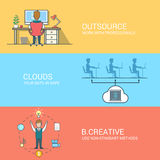 Business technology creative concept flat icons se Royalty Free Stock Photos