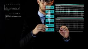 Businessman working with data on virtual screen stock footage