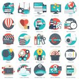 Business, technology and finances icon set for websites and mobile applications and services. Flat vector. Illustration Stock Photography