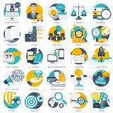 Business, technology and finances icon set for websites and mobile applications and services. Flat vector. Illustration Stock Images