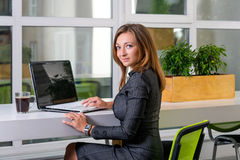 Business, technology and green office concept - young successful businesswoman with laptop computer at office. Woman using tablet Stock Image