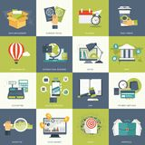 Business and technology icon set for websites and mobile applications. Flat vector. Illustration Royalty Free Stock Photo