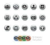 Business Technology Icons -- Metal Round Series Stock Photos