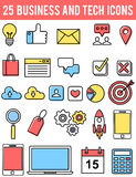 Business and technology icons. 25 business and technology icons set Stock Photos