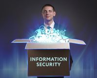 Free Business, Technology, Internet And Network Concept. Young Businessman Shows The Word: Information Security Stock Photos - 158585733