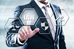 Businessman pressing button on touch screen interface and select law. Business, technology, internet concept on hexagons and transparent honeycomb background Stock Images