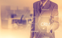 Business, technology, internet and customer relationship management concept. Businessman pressing crm button on virtual screens.  stock images
