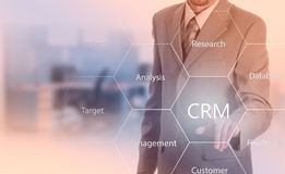 Business, technology, internet and customer relationship management concept. Businessman pressing crm button on virtual screens Royalty Free Stock Photography