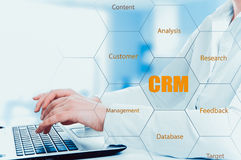 Business, technology, internet and customer relationship management concept. Businessman pressing crm button on virtual screens Royalty Free Stock Photo