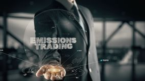 Emissions Trading with hologram businessman concept. Business, Technology Internet and network concept stock video