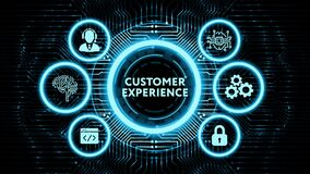 Business, Technology, Internet and network concept. Virtual screen of the future and sees the inscription: Customer experience