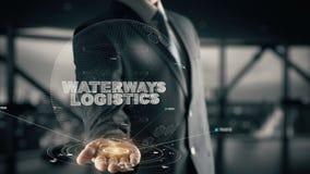 Waterways Logistics with hologram businessman concept